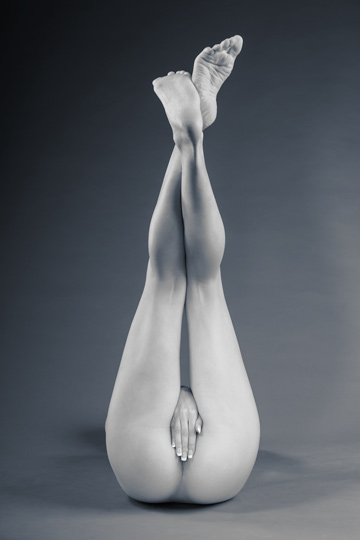 Studio Nudes Art Photography. A nod to classic studio photography, a central figure presented in negative space, free of distraction.
