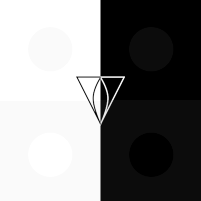 Four squares, four dots, logo