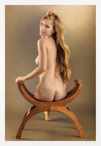 "Nude figure, seated: ""Brushed Back"" limited edition fine art nude artwork"