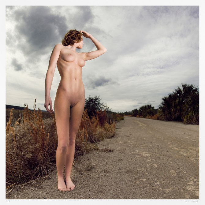 "Large scale photograph, female nude ""Dirt Road Enquiry"" limited edition art"