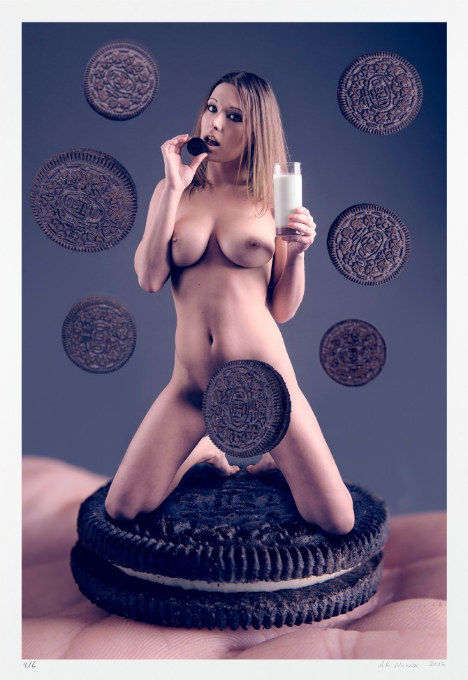"Surreal art photography, ""Cookies and Milk"" Pinup nude limited edition"