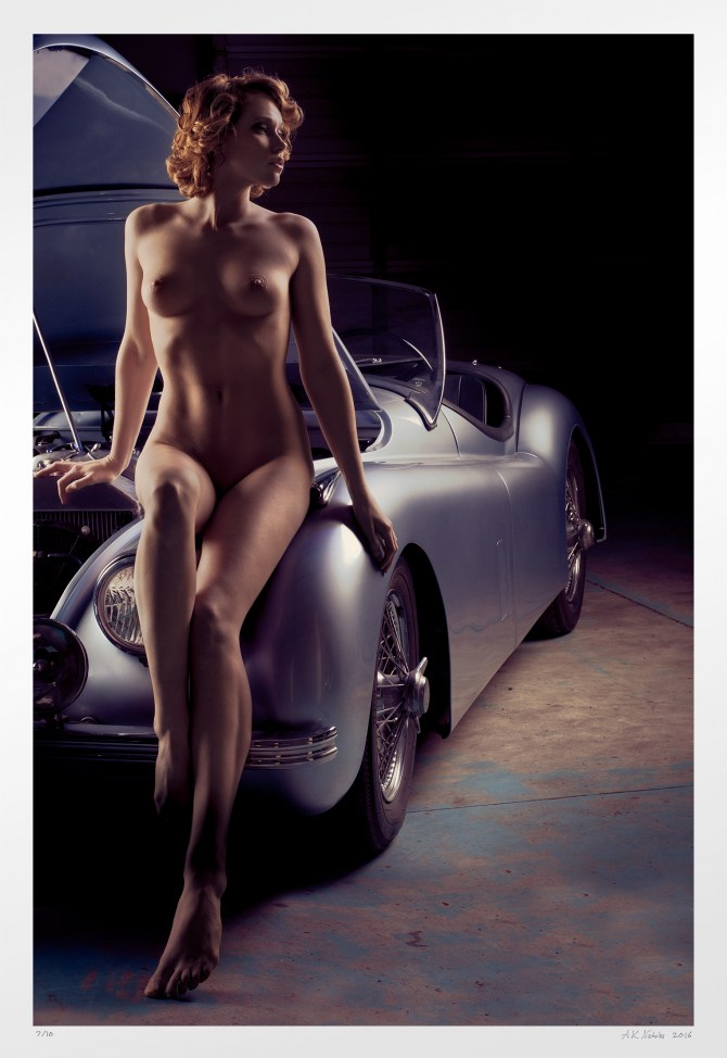 "Pin-up nude ""Open Bonnet"" car and girl art photography. Signed edition"