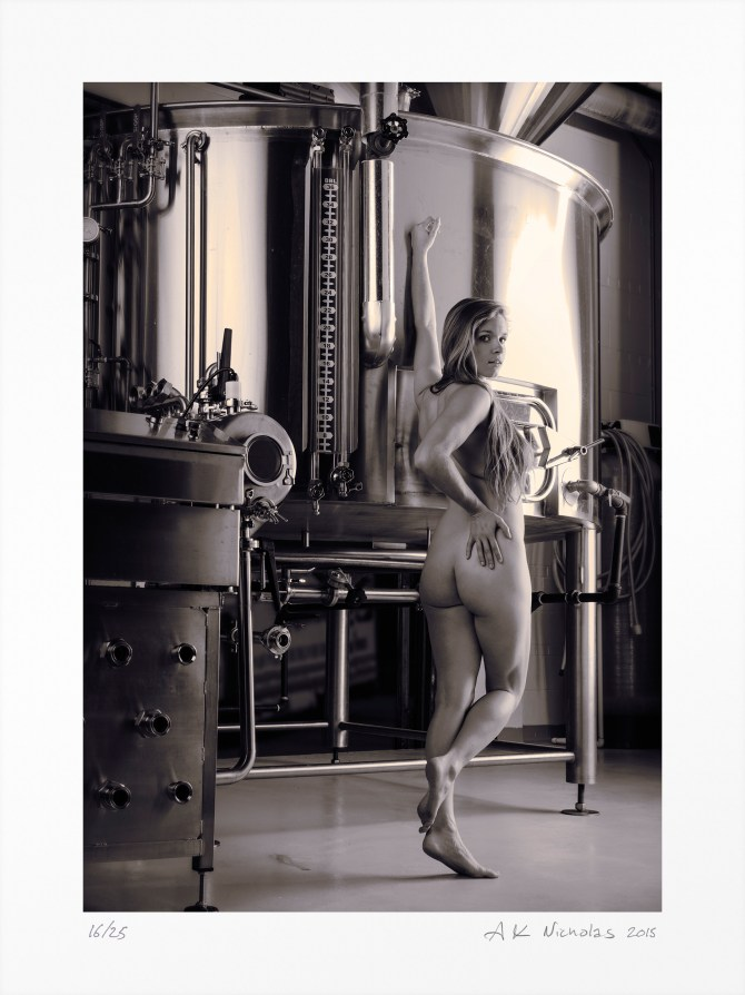 """Monochromatic art nude """"Emily, Brewhouse Tank"""" limited edition original"""