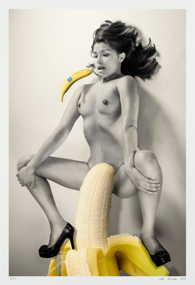 Erotic surrealism, a photographic construction nude woman and bananas.