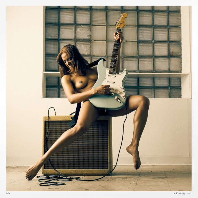 Fine art nude photograph guitar pinup girl