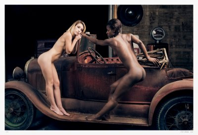 American Convertible limited edition art nude photograph. Charity and Narza pose nude on a 1929 Ford Roadster.