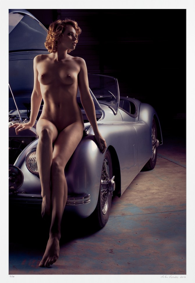 """Pin-up nude """"Open Bonnet"""" car and girl art photography. Signed edition"""