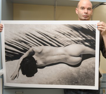 Artist with one blue fingernail, artwork.