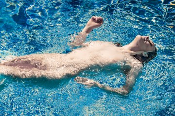 Fine art nude photography - limited edition - swimmer in blue water