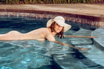 Limited edition fine art nude photography woman swimming