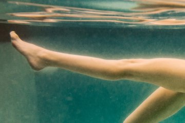 "Underwater nude photograph, ""Peek Above"" limited edition artwork, photograph of swimmer"