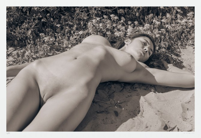 Monochrome nude photography: female figure in nature. Signed/numbered
