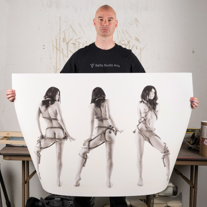 Artist with monochrome photography
