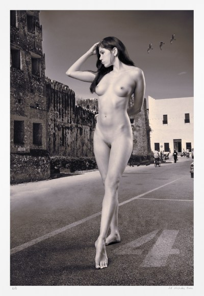 Sepia tone nude photograph: surreal pin-up art, exotic signed limited edition