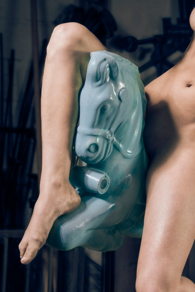 """Modern pinup photography, """"Blue Pony"""" limited edition archival photograph"""