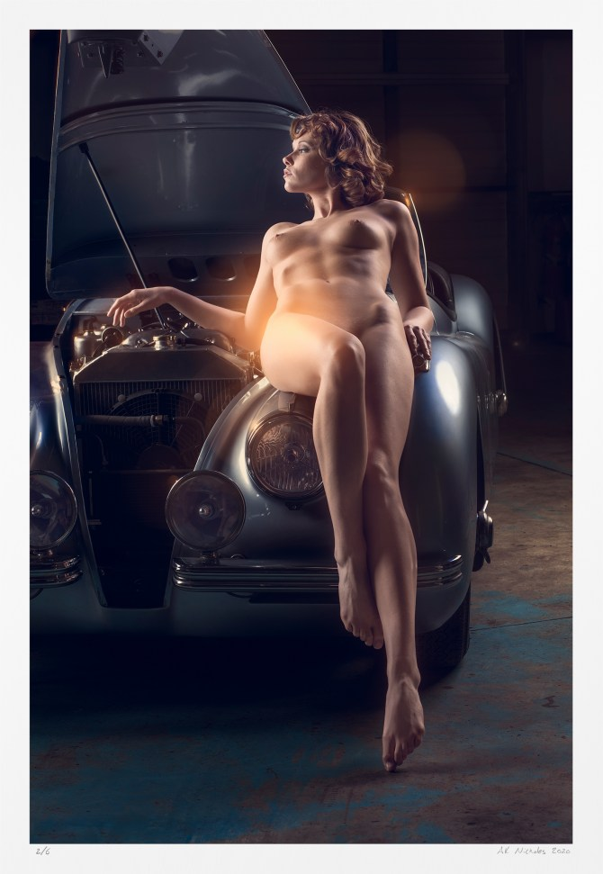 Pin-up girl, car: limited edition archival photography fine art nude