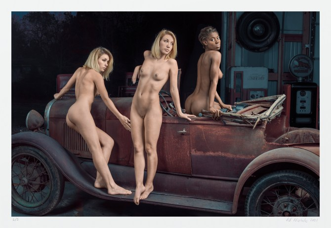 Art nude women car. Pinup photography limited edition for sale online