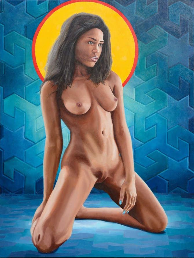 "Original oil painting woman in the nude. ""Sonya Tiles"" Direct from the artist."