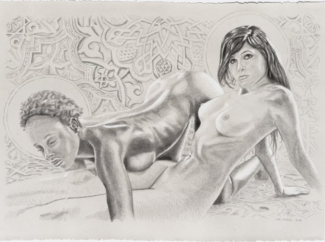 nude drawing two women