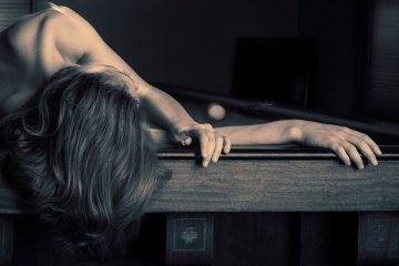 """""""Wicked Game"""" fine art nude figure billiards table"""