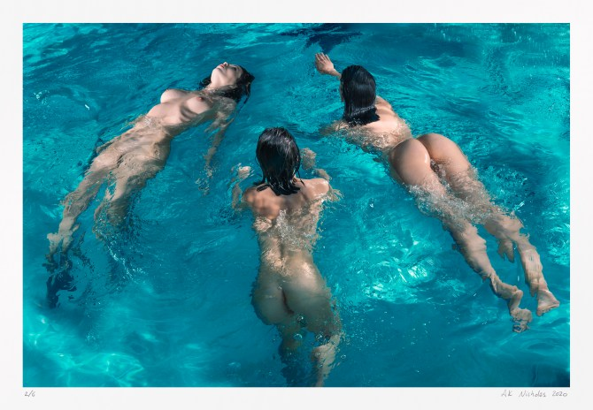 Contemporary figure study: Three nudes floating   original limited edition
