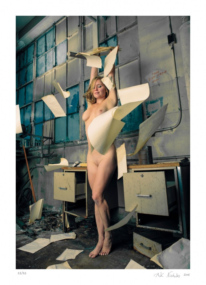 """Urban exploration art nude photograph """"Paper Toss!"""" limited edition"""